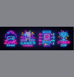 video game neon sign collection conceptual vector image