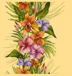 Vintage floral tropical seamless pattern vector
