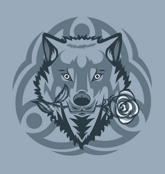 white wolf with a rose in mouth vector image