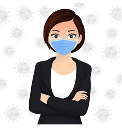 woman use face mask disposable medical surgical vector image