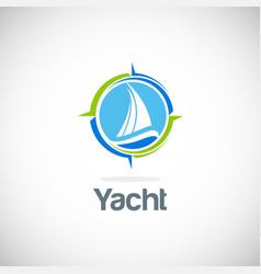 yacht sail navigation logo vector image