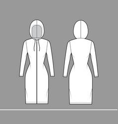 zip-up hoody dress technical fashion vector image