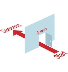 arrow leading through door vector image vector image