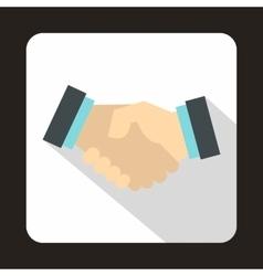 Business handshake icon flat style vector image vector image