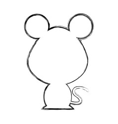 cute mouse silhouette isolated icon vector image vector image