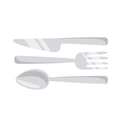 Cutlery set with fork knife and spoon table vector image