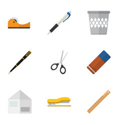 flat icon tool set of rubber letter duct and vector image