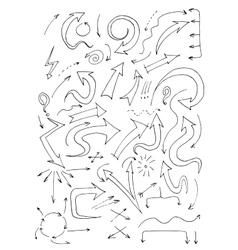 Hand Drawn Doodle Arrows Set vector image