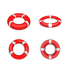 lifebuoy icon set cartoon style vector image