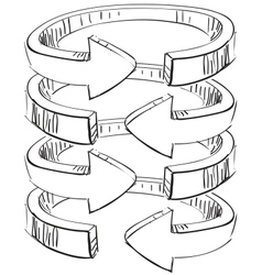 Rounded spiral arrows vector image