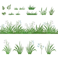 Grass and flowers seamless and sets vector image vector image