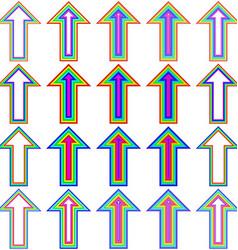 Rainbow line arrow design set vector image vector image
