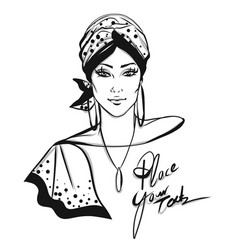 stylish woman with turban vector image