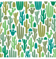 background pattern with group of cactus icons vector image vector image