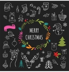 Christmas Design Elements - Doodle Xmas symbols vector image