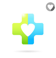 Heart icon on medical cross vector image vector image