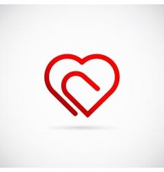 Paperclip Heart Concept Symbol Icon or Logo vector image