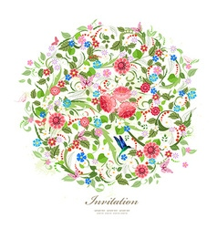Round pattern of beautiful flowers for your design vector image