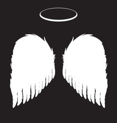 White angel wings and halo background vector
