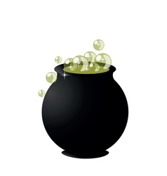 witchs cauldron on pot on halloween on white backg vector image vector image