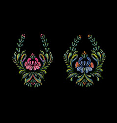 hand drawn vintage floral ornament on black vector image vector image