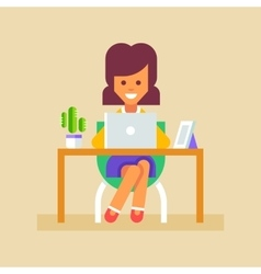 Secretary working with laptop vector image