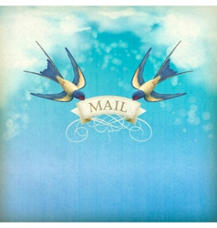 Swallows mail vintage postcard vector image