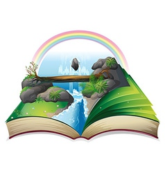 Waterfall book vector image vector image