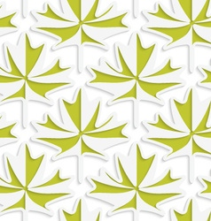 White 3D with colors green maple leaves vector image vector image