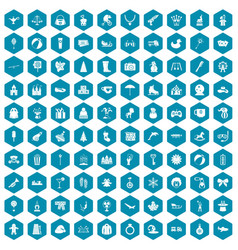 100 children icons sapphirine violet vector image