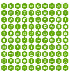100 microphone icons hexagon green vector