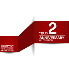 2 years anniversary design with red and white vector