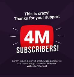 4m subscribers celebration background design 4 vector