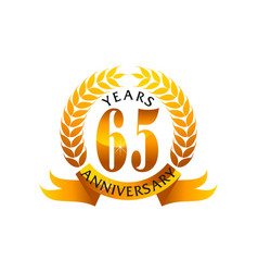 65 years ribbon anniversary vector