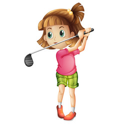 a female golfer character vector image