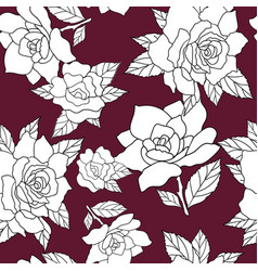 All over pattern with white roses tossed vector