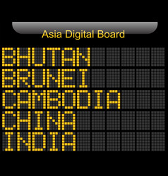 Asia country digital board information vector