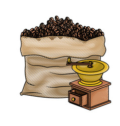 Bag of coffee beans and griding with crank colored vector