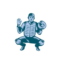 Baseball Catcher Gloves Woodcut vector