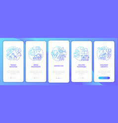 Basic business core values onboarding mobile app vector