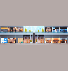 big shopping mall interior horizontal banner vector image