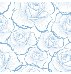 Blue outline roses on white seamless pattern vector image