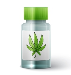 bottle with medical marijuana vector image