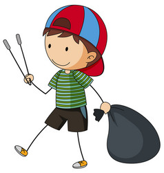 Boy with garbage bag and tongs vector