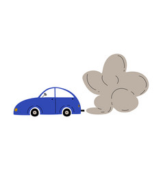 car with exhaust smoke cloud ecological problem vector image