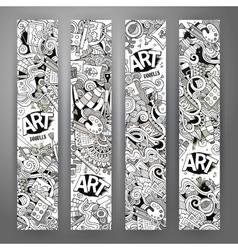 Cartoon doodles art banners vector image