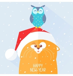 Cat new year vector image