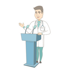 Caucasian doctor giving a speech from tribune vector
