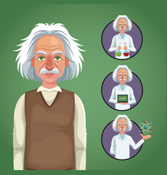 character scientist physical icons circle vector image