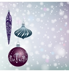 Christmas balls on snowy background vector image